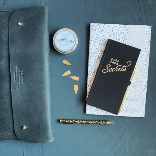 Black, white, and gold stationery
